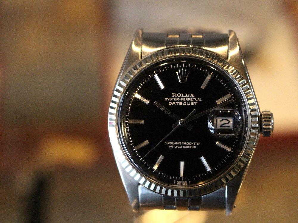 ロレックス/デイトジャスト/ミラーダイヤル/黒文字盤/クロノメーター/Cal1570/Ref1601/自動巻き/65s/ゴールドレター/Rolex/Oyster  perpetual